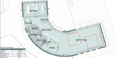 Infografías y plano del Programa de Infraestructuras Turísticas en Áreas Naturales - Edf. Polivalente Caboalles (León)
