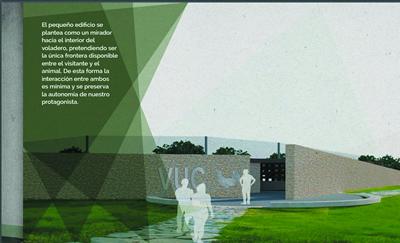 Infografías y plano del Programa de Infraestructuras Turísticas en Áreas Naturales - Voladeros en Centro del Urogallo - Caboalles (León)