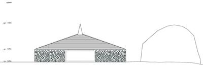 Alzado y plano de planta del Programa de Infraestructuras Turísticas en Áreas Naturales - Edificio de Servicios  - Vinuesa (Soria)
